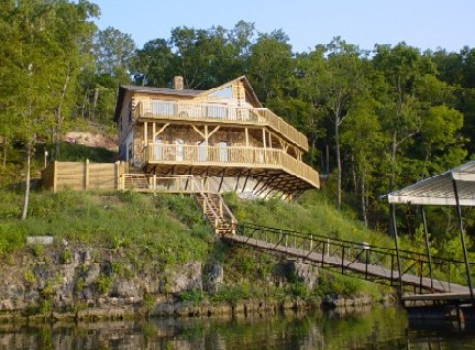 Pelican Point Log Home from the East